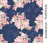 seamless floral pattern with... | Shutterstock .eps vector #763995136