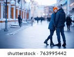 love young couple in early... | Shutterstock . vector #763995442
