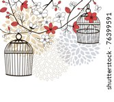birdcages and flowers | Shutterstock .eps vector #76399591