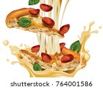 savoury pepperoni pizza  slice...   Shutterstock .eps vector #764001586