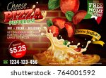 mouthwatering pizza ads  cheese ... | Shutterstock .eps vector #764001592