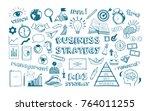business strategy. vector hand... | Shutterstock .eps vector #764011255