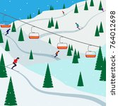 ski resort snow mountain... | Shutterstock .eps vector #764012698