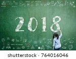 2018 new calendar year greeting ...   Shutterstock . vector #764016046