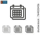 calendar   outline icon on... | Shutterstock .eps vector #764020456