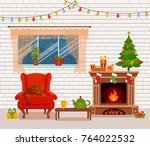 christmas room interior in...   Shutterstock . vector #764022532