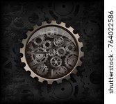 illustration. metal clock gear... | Shutterstock . vector #764022586