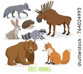 cartoon forest animals set.... | Shutterstock .eps vector #764024995