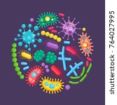 bacteria  germ  virus set in... | Shutterstock .eps vector #764027995