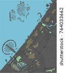 dubai vector map with dark... | Shutterstock .eps vector #764033662