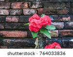 red porcupine next to the brick ... | Shutterstock . vector #764033836