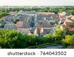old roof tops of an old housing ... | Shutterstock . vector #764043502