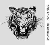 Roaring Tiger Face. Vector...