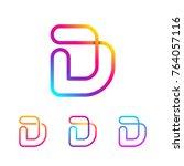 abstract letter d line monogram ... | Shutterstock .eps vector #764057116