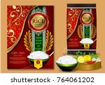golden and red rice package... | Shutterstock .eps vector #764061202