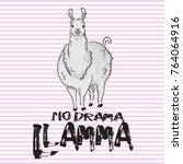 cute lama   hand drawn vector... | Shutterstock .eps vector #764064916