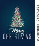 merry christmas pine tree... | Shutterstock .eps vector #764071516