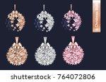 merry christmas set of rose... | Shutterstock .eps vector #764072806