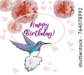 happy birthday flowers blossom... | Shutterstock .eps vector #764078992