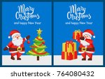 merry christmas and happy new... | Shutterstock .eps vector #764080432