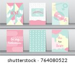 set of valentine's day card on... | Shutterstock .eps vector #764080522