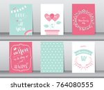 set of valentine's day card on... | Shutterstock .eps vector #764080555