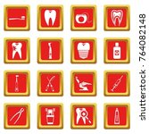 dental care icons set in red...   Shutterstock . vector #764082148