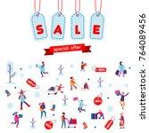 christmas shopping  winter... | Shutterstock .eps vector #764089456