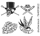 old school tattoo emblems.... | Shutterstock .eps vector #764093812