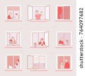 apartment window neighbors hand ... | Shutterstock .eps vector #764097682