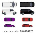 set of black and white minibus  ... | Shutterstock . vector #764098228