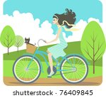 girl cycling | Shutterstock .eps vector #76409845