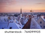 city landscape with snow... | Shutterstock . vector #764099935