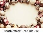 white christmas balls ornaments ... | Shutterstock . vector #764105242