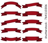 set of ten dark red ribbons and ... | Shutterstock .eps vector #764110306