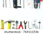 top view of working tools...   Shutterstock . vector #764111536