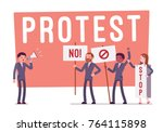protesting people at strike.... | Shutterstock .eps vector #764115898
