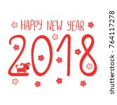 hand drawn new year greeting... | Shutterstock .eps vector #764117278