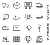 thin line icon set   truck  box ... | Shutterstock .eps vector #764118745