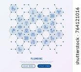plumbing concept in honeycombs... | Shutterstock .eps vector #764121016