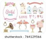 set of romantic elements for... | Shutterstock .eps vector #764129566