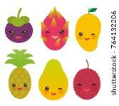 cute funny kawaii exotic fruit... | Shutterstock . vector #764132206