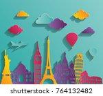 world skyline. travel and... | Shutterstock .eps vector #764132482