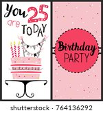 birthday card with cake  ... | Shutterstock . vector #764136292