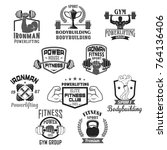 gym and ironman bodybuilding or ... | Shutterstock .eps vector #764136406