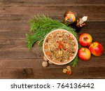 dish of traditional slavic... | Shutterstock . vector #764136442