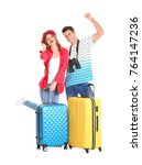 happy tourists with suitcases...   Shutterstock . vector #764147236