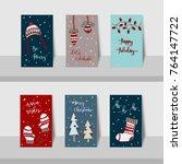 set of merry christmas mini... | Shutterstock .eps vector #764147722