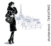 fashion girl in sketch style in ... | Shutterstock .eps vector #764147842