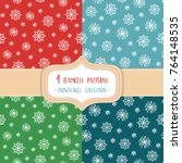 set of four christmas seamless... | Shutterstock .eps vector #764148535